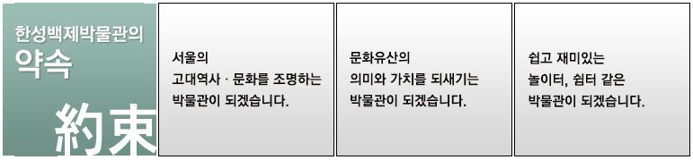 한성백제박물관의 약속. 1번 서울의 고대역사, 문화를 조명하는 박물관이 되겠습니다. 2번 문화유산의 의미와 가치를 되새기는 박물관이 되겠습니다. 3번 쉽고 재미있는 놀이터, 쉼터 같은 박물관이 되겠습니다.